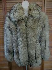 Sheepskin vintage women Jacket sz L fluffy thick lambskin pockets brown suede