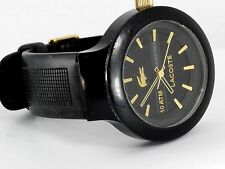 Lacoste 2010686 Men Watch Borneo Silicone Band Black Gold Markers 10atm Watch UK