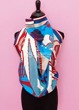 """NEW HERMES 90 36"""" BLUE WHITE ZOUAVES ET DRAGONS SILK TWILL SCARF SHAWL CARRE t19"""