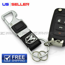 LED FLASHLIGHT KEYCHAIN KEY FOB CHAIN RING BLACK LEATHER FOR DODGE - US SELLER