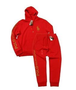 Polo Ralph Lauren Men's Red Big Gold Pony Logo Double Knit Hoodie & Pant Set