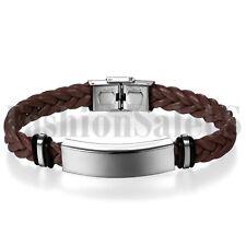 Hot Men Women Multilayer Leather Bracelet Handmade Wristband Bangle Metal Buckle