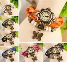 Fashion Butterfly Bracelet Leather Women's Quartz watch Bangle Hot Wristwatch LS