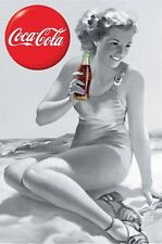COCA COLA ~ COKE CLASSIC RETRO BEACH GIRL 24x36 POSTER Soda Pop NEW/ROLLED!