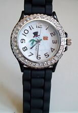 Fashion Christmas Jelly Silicone Rhinestone Girls Ladies Womens Wrist Watch
