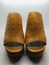 CHIE MIHARA Brown Leather Size 6.5 Open Toe Wedge Sandal