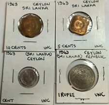 1963 Sri Lanka (Ceylon) 1, 5, 10 Cents & 1 Rupee uncirculated coin(s)