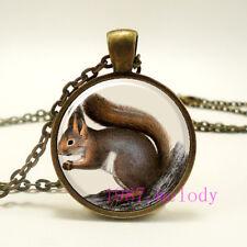Animal Squirrel Cabochon Glass Necklace charm vintage Bronze pendants