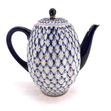 Russian Imperial Lomonosov Porcelain Cobalt Large Tall Teapot Made In Russia