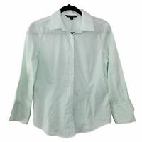 346 BROOKS BROTHERS Womens Mint & White Stripe Shirt  Size: 4  Long Sleeve