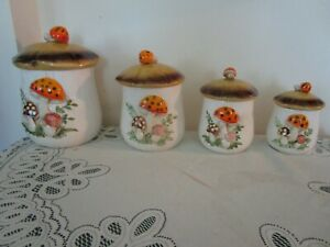 NIB 1976 merry mushroom sears robuck 4 pc, canister set with lids
