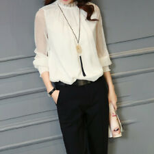 Elegant Ladies Office Blouse Casual See Through Long Sleeve Blouse Shirt Tops