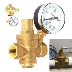 """Einstellbar Druckminderer DN15 1/2"""" Ventil Wasser Druckregler mit Manometer"""