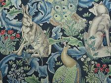 "William Morris per tende/tappezzeria stoffa ""Foresta"" 3.9 METRI 390cm Indaco Lino"