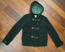 Women's Lacoste Dark Green Wool Hooded Duffle Toggle Coat Jacket size 6 US / 38