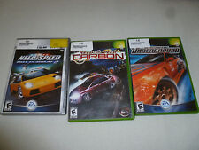 XBOX GAME LOT OF 3 GAMES NEED FOR SPEED UNDERGROUND HOT PURSUIT CARBON COMPLETE