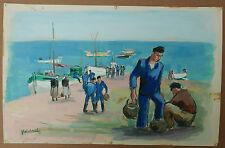 Aquarelle Marine Port Bateaux BRETAGNE Douarnenez PIERRE ABADIE LANDEL 1962