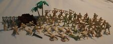 Army Men w/ Trees, Fence & Walls - 60+ Pieces - Desert Soldiers
