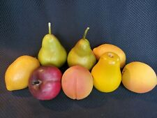 Set of 8 Pieces Of Wood & Plastic Or Styrofoam Artificial Fake Faux Fruit