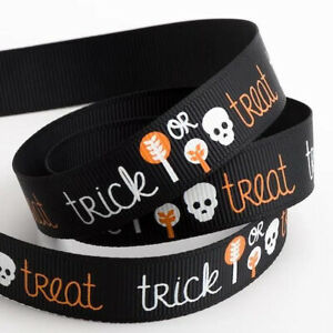 Black Halloween Trick or Treat Grosgrain Ribbon - 16mm x 5m Roll - Choose Design
