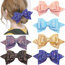 5Inch Glitter Hair Bows Boutique Hair Clips Baby Girls Glitter Sequins Big Bows