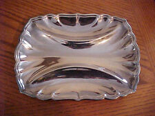 "Reed & Barton Silver Dish 3 Compartment Platter Scalloped Rectangular 10-3/4"""