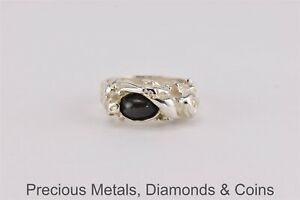 Sterling Silver Oval Green Quartz Nugget Band Ring 11g 925 Sz: 9