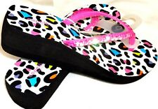 NWT Cappelli New York Wedge Heel Flip Flop Sandals Leopard and Sequin Size 9