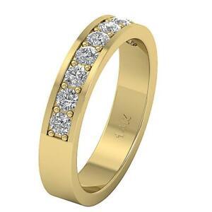 Anniversary Ring Round Cut Diamond I1 G 0.90 Carat 14K White Yellow Rose Gold