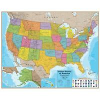 United States Of America Laminated Wall Map by Round World Products  - United