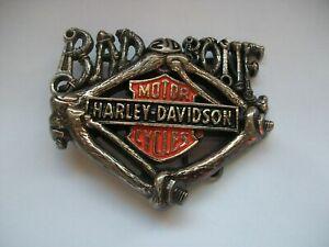 HARLEY-DAVIDSON MOTORCYCLE  VINTAGE BRASS  BELT BUCKLE DATED 1992 BAD 2D BONE