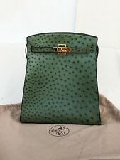 RARE Vintage HERMES Kelly Sport Green Ostrich Leather 32 CM Handbag Shoulder Bag