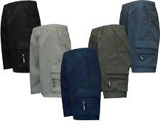 New Mens Elasticated Waist Cargo Combat Plain Shorts 7 Pocket Zip Fly M - 5XL