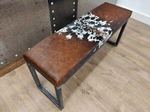 BESPOKE - Cowhide topped Steel SLIM bench 100x30cm -  handmade in the U.K
