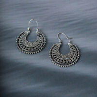 Hoop Earrings Ethnic-Tribal Aztec Hippie Boho Dangle Silver Tibetan Fashion