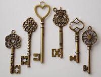 6 Large Skeleton Mixed Antique Bronze Key Charms 60-85mm Wedding Santa (TSC86)