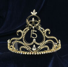 """Crystal Clear Rhinestones Sweet 15 Quinceanera w/Combs.Gold Plated Tiara.4"""" Tall"""