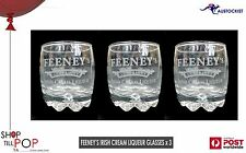 Feeney's Irish Cream Liqueur Barrel Tumbler Glasses 3 set Bnwob Ireland Party