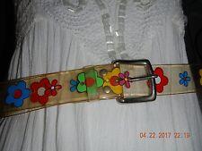 Clear colorful PLASTIC FLOWER Belt 70'S Vtg size  Womens 38