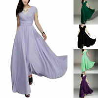 Women Long Formal Prom Party Bridesmaid Chiffon Ball Evening Cocktail Dress Gown