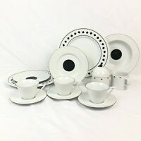 14 PC SET SASAKI DANCING SQUARES DINNER SALAD PLATE CUP SAUCER ANDREE PUTMAN