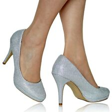 NEW Ladies Party Bridal Evening Sparkly Glittery High Heel Court Shoes Size-NT