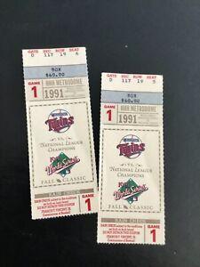 1991 Minnesota Twins World Series Baseball Game 1 Ticket Stubs Pair (set of 2) S