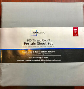 New Mainstays 200 Thread Count Percale Sheet 4 PIECES  Set FULL Size GREY