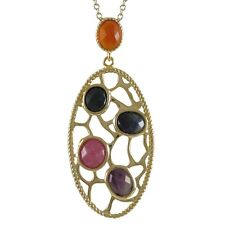 Gold-tone Sterling Silver Semi-precious Gemstone Filigree Oval Necklace