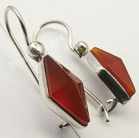 "925 Sterling Silver CARNELIAN Cut Gemstone BESTSELLER Pyramid Earrings 1.1"""