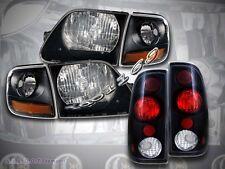 97-03 FORD F150 SVT STYLE BLACK HEADLIGHTS + CORNER LIGHTS + 97-00 TAIL LIGHTS