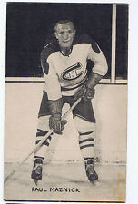 1948-52 Exhibits Hockey Card Paul Maznick Montreal Canadiens (5 1/4 x 3 1/4)