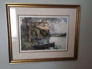 Luigi Kasimir Etching, Persenbeug Castle, Estate Signed, Framed