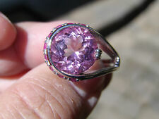 SS Les Bijoux 6.44ct Rnd Fancy Cut Pink Topaz and 0.45ct Ruby Ring - Size 6